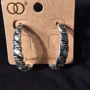 """NWT ABALONE Earrings 1-1/4"""" oval hoops.  Pretty!"""